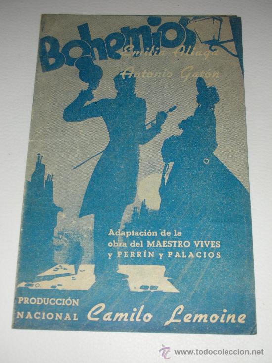 PROGRAMA DE CINE DOBLE 'BOHEMIOS' EMILIA ALIAGA Y ANTONIO GATÓN CINEMA LEVANTE 1940 (Cine - Folletos de Mano - Clásico Español)