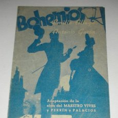 Cine: PROGRAMA DE CINE DOBLE 'BOHEMIOS' EMILIA ALIAGA Y ANTONIO GATÓN CINEMA LEVANTE 1940. Lote 34396063
