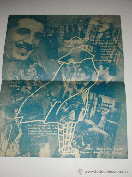 Cine: Programa de cine doble BOHEMIOS EMILIA ALIAGA Y ANTONIO GATÓN CINEMA LEVANTE 1940 - Foto 2 - 34396063