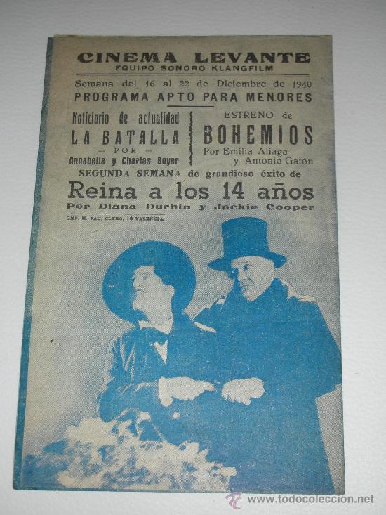 Cine: Programa de cine doble BOHEMIOS EMILIA ALIAGA Y ANTONIO GATÓN CINEMA LEVANTE 1940 - Foto 3 - 34396063