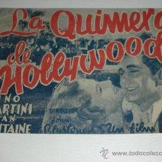 Cine: PROGRAMA DE MANO DOBLE 'LA QUIMERA DE HOLLYWOOD' RKO RADIO JOAN FONTAINE Y NINO MARTINI. Lote 34396119