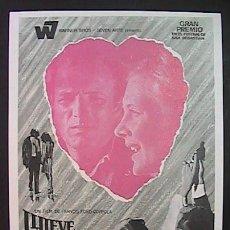 Flyers Publicitaires de films Anciens: LLUEVE SOBRE MI CORAZON,SHIRLEY KNIGHT, JAMES CAAN, (1/86) FM, SIN PUBLICIDAD, VER FOTO. Lote 144033789