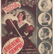 Cine: QUIEREME SIEMPRE PROGRAMA DOBLE COLUMBIA GRACE MOORE LEO CARRILLO MICHAEL BARTLETT MARRON. Lote 34454595