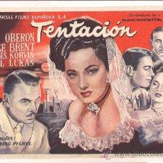 Cine: TENTACION PROGRAMA SENCILLO UNIVERSAL MERLE OBERON GEORGE BRENT NO ESTRENADA . Lote 34454973