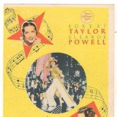 Cine: LA MELODIA DE BROADWAY 1936 PROGRAMA SENCILLO MGM ROBERT TAYLOR ELEANOR POWELL JACK BENNY. Lote 34458720