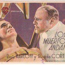 Cine: LOS MUERTOS ANDAN PROGRAMA SENCILLO WARNER TERROR BORIS KARLOFF. Lote 34459228