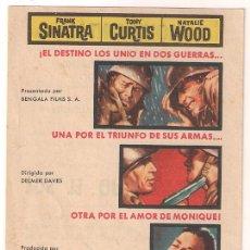 Cine: CENIZAS BAJO EL SOL PROGRAMA SENCILLO BENGALA NATALIE WOOD FRANK SINATRA TONY CURTIS. Lote 34466235