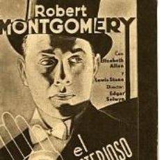 Cine: EL MISTERIOSO SR. 'X'.- SENCILLO-CARTULINA.- REVERSO CINE ALHAMBRA.-. Lote 34532651