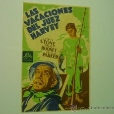 Cine: PROGRAMA CINE LAS VACACIONES DEL JUEZ HARVEY - MICKEY ROONEY. Lote 34549595