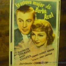 Flyers Publicitaires de films Anciens: PROGRAMA CINE LA OCTAVA MUJER DE BARBA AZUL.-GARY COOPER TEATRO DURO - LA FELGUERA???. Lote 34553277