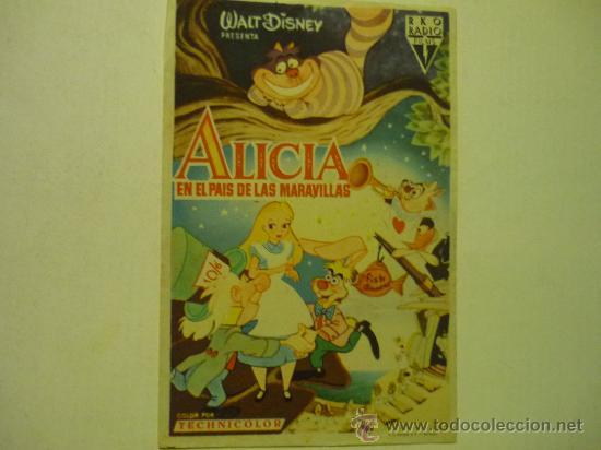 PROGRAMA CINE DISNEY -ALICIA EN EL PAIS DE LAS MARAVILLAS (Cine - Folletos de Mano - Infantil)