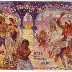 Cine: LAS MIL Y UNA NOCHES - JON HALL - 1942 - PUBLICIDAD EN CINE DORADO. Lote 34687925