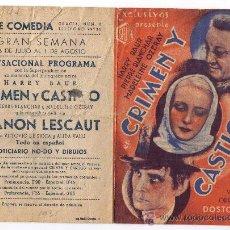 Cine: PROGRAMA DOBLE - CRIMEN Y CASTIGO - HARRY BAUR - 1935 - PUBLICIDAD EN CINE COMEDIA . Lote 34689636