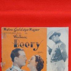 Cine: NIDO DE AGUILAS, DOBLE MGM 1936, WALLACE BEERY, CON PUBLICIDAD TEATRO PRINCIPAL. Lote 34701700