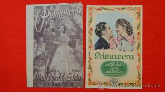 PRIMAVERA, 2 PROGRAMAS 1 DOBLE, ORIGINALES, JANETTE MCDONALD NELSON EDDY, SIN PUBLICIDAD (Cine - Folletos de Mano - Musicales)