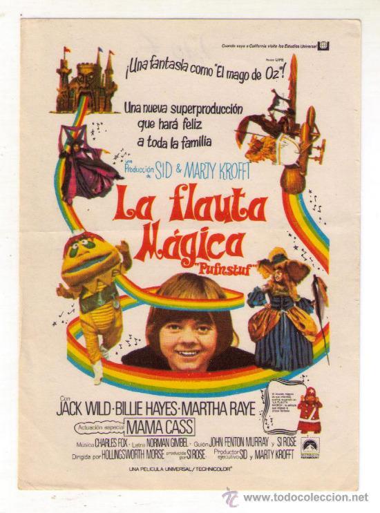 LA FLAUTA MÁGICA - JACK WILD - 1970 - SIN PUBLICIDAD (Cine - Folletos de Mano - Infantil)