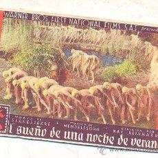Cine: EL SUEÑO DE UNA NOCHE DE VERANO, PROGRAMA WARNER AÑOS 30. Lote 34933151