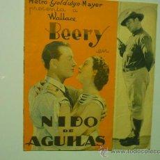 Cine: PROGRAMA CINE DOBLE NIDO DE AGUILAS .- WALLACE BEERY PUBLICIDAD. Lote 34971658
