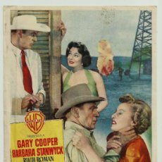 Cine: SOPLO SALVAJE GARY COOPER BARBARA STANWYCK TEATRE BARTRINA REUS 1955. Lote 34987164