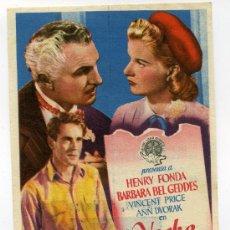 Cine: NOCHE ETERNA, CON HENRY FONDA.. Lote 34998106