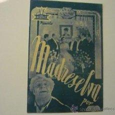 Cine: PROGRAMA CINE DOBLE MADRESELVA -LIBERTAD LAMARQUE. Lote 35042778