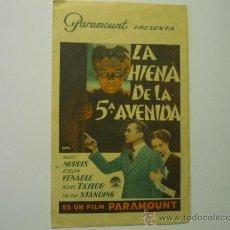 Cine: PROGRAMA DOBLE LA HIENA DE LA QUINTA AVENIDA .-MARY MORRIS PUBLICIDAD. Lote 35042799