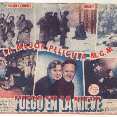 Cine: PROGRAMA DOBLE - FUEGO EN LA NIEVE - VAN JOHNSON - 1949 - SIN PUBLICIDAD. Lote 35046167