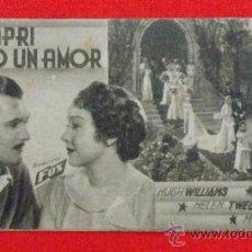 Cine: EN CAPRI NACIO UN AMOR TARJETA FOX 1935 EXCTE ESTADO HUGH WILLIAMS HELEN TWELVETREES PUBLI FORTUNY. Lote 35204480