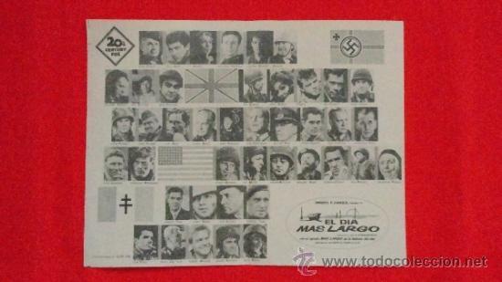 EL DIA MAS LARGO, PROGRAMA ORIGINAL 13,5 X 18 CMS, EXCTE ESTADO, SIN PUBLICIDAD (Cine - Folletos de Mano - Bélicas)