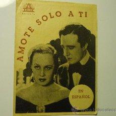 Cine: PROGRAMA DOBLE AMOTE SOLO A TI.- VITTORIO DE SICA--PUBLICIDAD. Lote 35214529