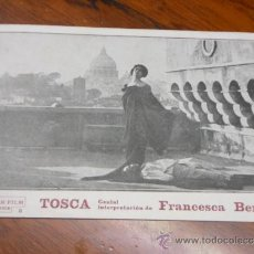 Cine: TOSCA PROGRAMA DE CINE TARJETA POSTAL ANTIGUO DE FRANCESCA BERTINI CON PUBLICIDAD IMPRESA OPERA. Lote 35359385