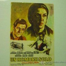Foglietti di film di film antichi di cinema: PROGRAMA UN HOMBRE SOLO .- KATY JURADO .- ALBERTO CLOSAS. Lote 35380697