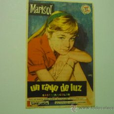 Foglietti di film di film antichi di cinema: PROGRAMA UN RAYO DE LUZ .-MARISOL. Lote 37839540