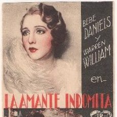 Cine: LA AMANTE INDOMITA PROGRAMA TARJETA WARNER WARREN WILLIAM BEBE DANIELS. Lote 35434604