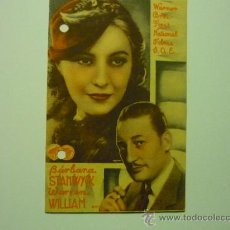 Cine: PROGRAMA DOBLE LA NOVIA SECRETA .- BARBARA STANWYCK -PUBLICIDAD. Lote 35576257