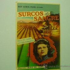Cine: PROGRAMA SURCOS DE SANGRE .- HUGO DEL CARRIL -PUBLICIDAD. Lote 35582448