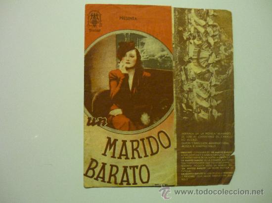 PROGRAMA DOBLE UN MARIDO BARATO.-PUBLICIDAD (Cine - Folletos de Mano - Comedia)