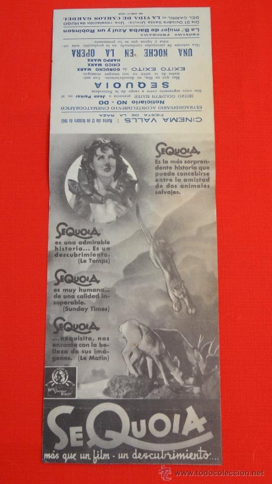 Cine: SEQUOIA, DOBLE MGM, JEAN PARKER, , CON PUBLICIDAD CINEMA VALLS - Foto 2 - 35841114