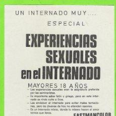Cine: PROGRAMA DE CINE LOCAL...EXPERIENCIAS SEXUALES EN EL INTERNADO. Lote 35952109