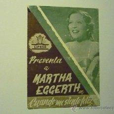 Cine: PROGRAMA CUANDO ME SIENTO FELIZ .- MARTHA EGGERTH DOBLE `PUBLICIDAD. Lote 200868433