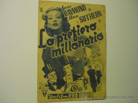 PROGRAMA DOBLE LO PREFIERO MILLONARIO .- G.RAYMOND - PUBLICIDAD (Cine - Folletos de Mano - Comedia)