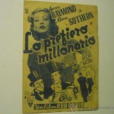 Cine: PROGRAMA DOBLE LO PREFIERO MILLONARIO .- G.RAYMOND - PUBLICIDAD. Lote 36081716