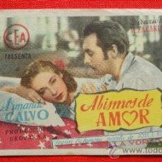 Cine: ABISMOS DE AMOR, SENCILLO ORIGINAL, ARMANDO CALVO, SIN PUBLICIDAD. Lote 36147640