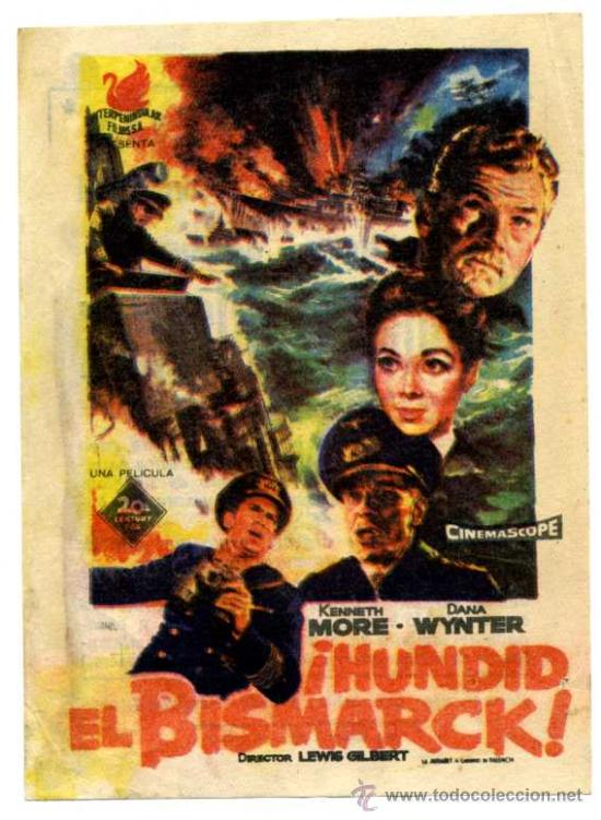 ¡HUNDID EL BISMARK! - CINE CARLOS III (ALICANTE) (Cine - Folletos de Mano - Bélicas)
