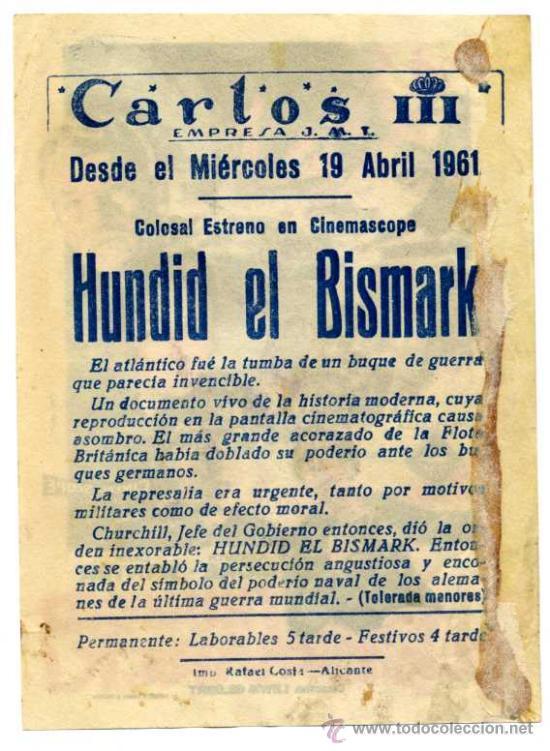 Cine: ¡Hundid el Bismark! - Cine Carlos III (Alicante) - Foto 2 - 36153577