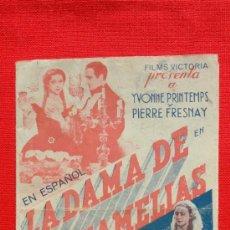 Cine: LA DAMA DE LAS CAMELIAS, DOBLE 1939, YVONNE PRIMTEMPS PIERRE FRESNAY, CON PUBLICIDAD MODERNO. Lote 36187335