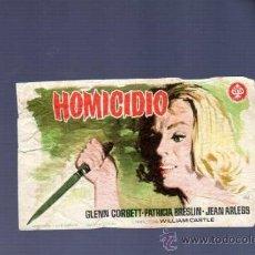 Cine: PROGRAMA DE CINE. CON PUBLICIDAD. HOMICIDIO. CINE FANTASIO. QUINTANS, VILLAGARCIA. . Lote 43589275