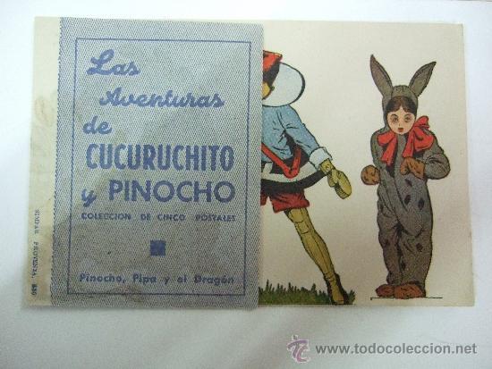 Cine: LAS AVENTURAS DE CUCURUCHITO Y PINOCHO - 5 POSTALES COMPLETO - SIN PUBLICIDAD -VER FOTOS ADICIONALES - Foto 2 - 36251286