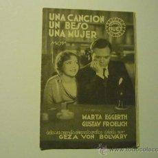 Cine: PROGRAMA TRIPTICO UNA CANCION UN BESO UNA MUJER.- MARTA EGGERTH .- PUBLICIDAD. Lote 36287373