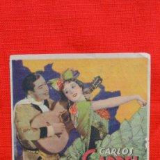 Cine: EL DIA QUE ME QUIERAS, TARJETA 1936, CARLOS GARDEL ROSITA MORENO, CON PUBLICIDAD SALA REUS. Lote 36321014